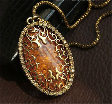 Korean Womens Jewelry Oval Amber Hollow Rhinestone Long Chain Pendant Necklace