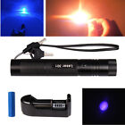 Military Burning Zoomable 405nm Blue Purple Laser Pointer Pen+Battery +Charger