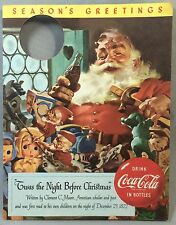 Original Vintage 1950s COCA COLA Night Before Christmas SANTA Soda Bottle Hanger
