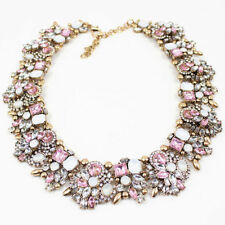 2015 New fashion Lady bib statement mixed pink multi crystal necklace collar hot