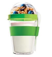 Asobu Yoghurt Topping To Go Container Green School Work Lunch Breakfast Spoon