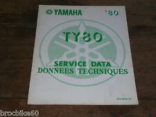 FICHE DONNEES TECHNIQUE YAMAHA TY 80 TRIAL 1980 -  service data 2V9-28197-70