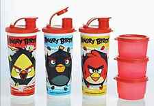 Tupperware Angry Birds Snack Cups & Tumblers w/ Pour Seals Set Orange Rare New