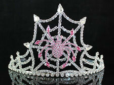 SPIDER PINK AUSTRIAN RHINESTONE CRYSTAL TIARA WITH HAIR COMBS CROWN PARTY T1531