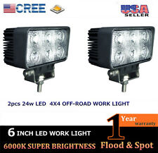2x 24W 6Inch Spot CREE Led Work Light 4x4 OffRoad ATV Jeep Boat SUV Truck White