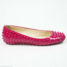$1095 Christian Louboutin 41/10-10.5 Gozul Spikes Grenadine Pink Leather Flat