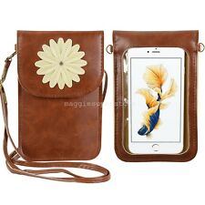"""7""""Brown Flower Cellphone pouch cross-body messenger bag For Apple iPhone 6s Plus"""