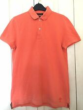 Massimo Dutti Mens Orange Short Sleeve Polo Shirt Size S 100%Cotton