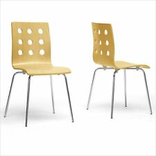 Baxton Studio Celeste Dining Chair Metal Wood Chairs in Natural (Set of 2)