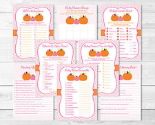 Pink Pumpkin Chevron Baby Shower Games Pack - 8 Printable Games