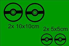 4x Pokemon Pokeball Ball Adesivo Per Auto Divertente Gioco Tutti Immagine
