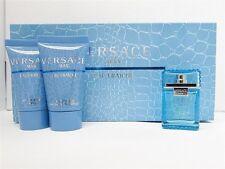 Versace Man Eau Fraiche Mini Set: .17 oz EDT, .8 oz After Shave, Shower Gel New