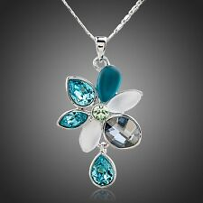 Platinum Multi-colored Blues and Greens Crystal Flower Necklace   #N123