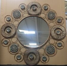 LARGE Vintage Brass Metal Washed Wood Moroccan Circle Round Wall Mirror NEW 77cm
