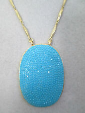 NWT Auth Kate Spade Pave The Way Turquoise Blue Pave Pendant Long Necklace $128