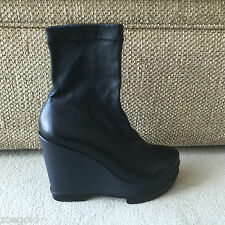 ROBERT CLERGERIE BLACK STRETCH LEATHER WEDGE PLATFORM ANKLE  BOOTS 37 $695