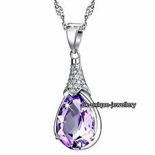 Amethyst Purple Crystal Necklace Silver Pendant - Gifts For Her Girlfriend Women