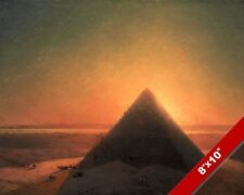 GREAT PYRAMID OF GIZA EGYPT AT SUNSET EGYPTIAN PAINTING ART REAL CANVAS PRINT