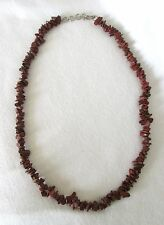 "Brown Jasper Natural Chip Stones Beads 19"" Long Choker Necklace.  NWT"