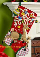 "Bucilla Ornamental Reindeer ~ 18"" Felt Christmas Stocking Kit #86652 Santa Deer"