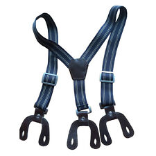 Boys Elastic Navy Unisex Suspender Braces Adjustable with Dark Brown Button Hole