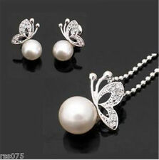 Pretty Butterfly Pearl Necklace Earrings Set Crystal Cream White Silver Diamante