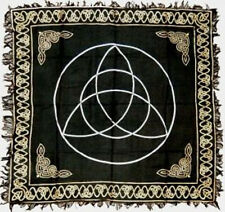 """Gold on Black Triquetra  Altar / Tarot Cloth 18"""" x 18"""" (Charmed, Wicca)"""