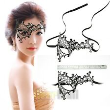 Black Phantom Laser Cut Venetian Half Mask Masquerade Metal Filigree Rhinestones