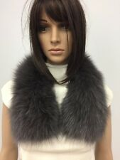 "GENUINE DYED GRAY FOX FUR SCARF BOA LENGTH 26"" n202"