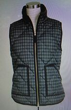 NWT J Crew M Quilted Printed Excursion Puffer Vest  Black Gray #02533 Down Fill