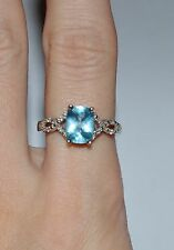 DESIGNER SIGNED STERLING SILVER DIAMONDS AND BLUE TOPAZ RING SIZE 7.5