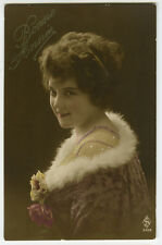 1910s Lovely Fashionable PRETTY YOUNG LADY French glamour photo postcard