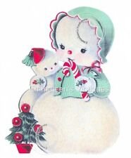 Vintage Image Shabby Christmas Baby Snowman Snowmen Waterslide Decals CHR237