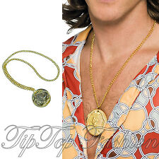 New Large Fake Gold Medallion Necklace 70's Retro Pimp Gangster Fancy Dress