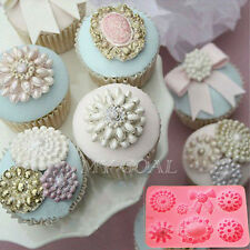 Brooch Jewelry Bowknot Silicone Fondant Cake Cupcake Decorating Chocolate Mould