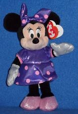 TY DISNEY MINNIE MOUSE PURPLE SPARKLE DRESS BEANIE BABY - MINT with MINT TAGS
