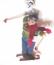6 INCH SKIING GIRL IN REAL CLOTHES CHRISTMAS DECORATION  CHILD BOY TREE