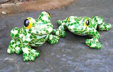 Mosaic Resin Garden & Tree Frog Pair Garden Animal Ornaments indoor & Outdoor