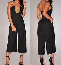 US SELLER-NEW WOMENS SEXY BLACK STRAPLESS CAPRI PANTS JUMPSUIT ROMPER 60255