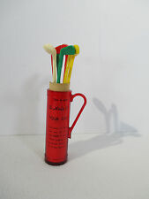 Golf Club Swizzle Sticks 19th Hole Caddy Vintage 1960 Cork Screw Drink Recipes
