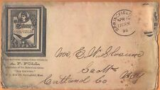 1896 cachet postal cover - A F Foll Springfield MA - maker of game 'Our Country'