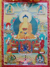 """Thangka-Printed Shakyamuni Buddha on Hot Stamping presswork Brocade Scroll 32"""" 8"""