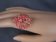Coral Pink Gold tone floral flower bunch bouquet big cocktail ring adjustable