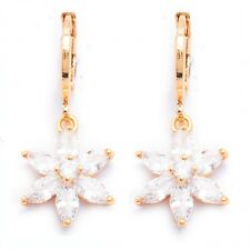 White Round Marquise Cubic Zircon Gold Plated Flower Drop Earrings