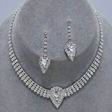 Sparkly diamante choker necklace set silvertone rhinestone bridal prom party 406