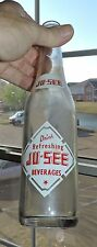 2061~Vintage 1950s Clear Glass Red White ACL JU-SEE Bev Soda Bottle Urbana, ILL*