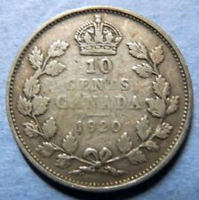 *CANADA, Vintage 1920  10  CENTS SILVER COIN, King George V Obverse, NICE COIN