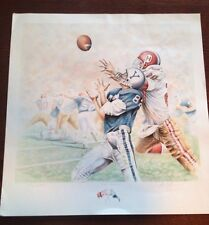 The Game Yale Vs Harvard Football Lithograph Art Print Mark Reevers