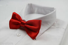 MENS RED ORANGE BOW TIE Pre-Tied Wedding Formal Classic Fashion Accessory Ladies