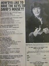 David Cassidy, Private Picture Book, Full Page Vintage Print Ad